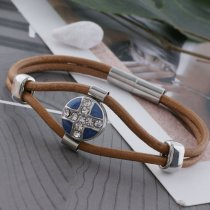 12MM cross sliver Plated with  rhinestone and blue enamel KS6330-S Diameter
