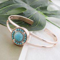 20MM round Rose Gold Plated with green Turquoise and rhinestone KC7536 snaps jewelry