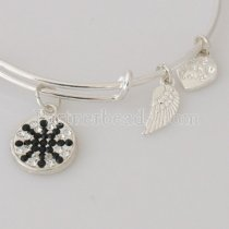 wire bracelet with big metal charms pave crystal and small metal charms