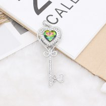 20MM heart-shaped design snap Silver Plated with  rhinestone KC9920 snaps jewelry