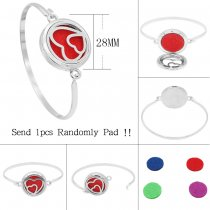 28MM alloy heart Aromatherapy/Essential Oil Diffuser Perfume Bracelet with 1pc 20mm discs as gift