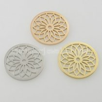 33MM stainless steel coin charms fit  jewelry size small lotus