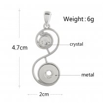 snap sliver Pendant with rhinestone fit 12MM snaps style jewelry KS1225-S