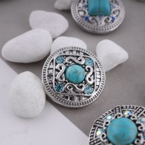 20MM round snap silver Antique plated with green rhinestone and Turquoise KC5373 snaps jewelry