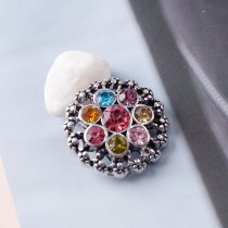 20MM flower snaps Antique Silver Plated with colorful rhinestone KB6939 snaps jewelry
