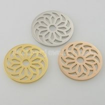 33MM stainless steel coin charms fit  jewelry size  bloom