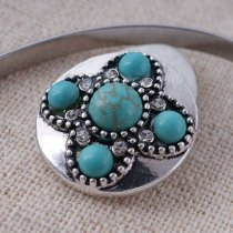 20MM round snap Antique Silver Plated with green Turquoise  KC8760 snaps jewelry