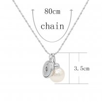 Acrylic silver pendant Necklace with 80CM chain KC1098 fit 20MM chunks snaps jewelry