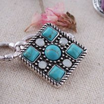 20MM Square snap silver Antique plated with green Turquoise and Rhinestones KC8672 snaps jewelry