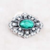 20MM design snap silver Plated with green rhinestone KC6934 snaps jewelry