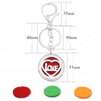 33MM alloy love Aromatherapy/Essential Oil Diffuser Perfume KEY CHAIN with 1pc 25mm discs as gift