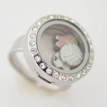 #8 Stainless steel floating charm locket ring can open