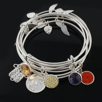 10pcs Wire Bangle  with MIX charm random typeall Silver color plated  Alex and Ani style Expandable