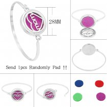28MM alloy mom Aromatherapy/Essential Oil Diffuser Perfume Bracelet with 1pc 20mm discs as gift