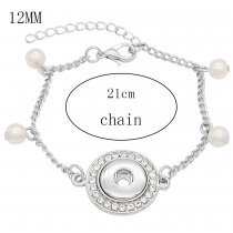 1 buttons snap sliver bracelet with pearl fit 12MM snaps jewelry KS1246-S