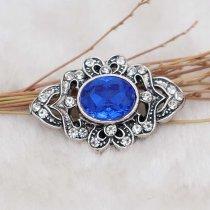 20MM design snap silver Plated with blue rhinestone KC6906 snaps jewelry