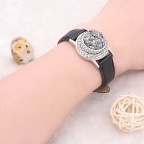 1 buttons Black Genuine leather KC0877 Watch bracelets fit 20MM snaps chunks