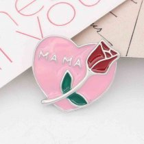 20MM Love Rose snap Silver Plated pink enamel KC7864 snaps jewelry