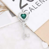 20MM heart-shaped design snap Silver Plated with green rhinestone KC9924 snaps jewelry