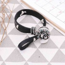 1 buttons snap sliver Leather bracelet fit 20MM snaps jewelry KC0846