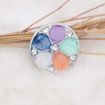 20MM design snap silver Plated with rhinestone and colorful enamel KC6919 snaps jewelry