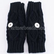 Knitted gloves fit 20mm snap button KB9792 black