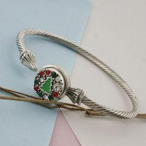 12MM Christmas snap sliver Plated with red rhinestone and enamel KS8099-S snap jewelry