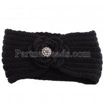Winter Knit Headband fit 18mm snap button black