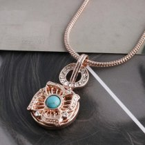 20MM flower snap Rose Gold Plated with green Turquoise and white Rhinestone KC5631 snaps jewelry