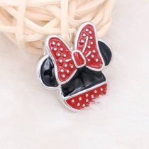 20MM Cartoon snap silver Plated with red  enamel KC5723 snaps jewelry