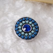 20MM Round snap Silver Plated with blue rhinestone and small beads KB6435 snaps jewelry