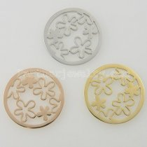 33MM stainless steel coin charms fit  jewelry size small flowers