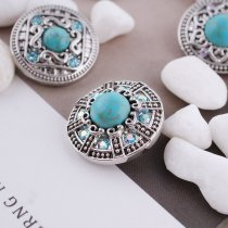 20MM round snap silver Antique plated with rhinestone and green Turquoise KC5375 snaps jewelry