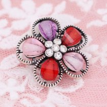20MM Flowers design snap Silver Plated with colorful rhinestone KC6941 snaps jewelry