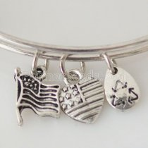 Antique Silver plated Expandable Wire Bangle with metal charm