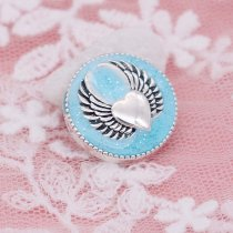20MM Wing snap silver Plated with blue enamel KC6949 snaps jewelry
