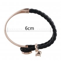 Black real leather and alloy with rhinestone KS1154-S rose gold bracelets fit 12mm snaps chunks