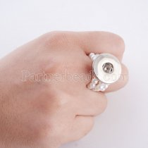 18MM snaps adjustable Silicone Stretch Ring with Pearls KC0941 snaps jewelry