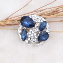 20MM design snap silver Plated with blue rhinestone KC6914 snaps jewelry