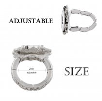 snaps adjustable sliver Ring with rhinestone fit 18mm snap chunks size 2cm