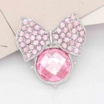20MM snap Silver Plated with Pink rhinestone KC7856 snaps jewelry