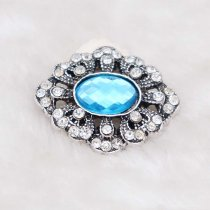 20MM design snap silver Plated with light blue rhinestone KC6932 snaps jewelry
