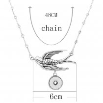 Retro smear swallows silver pendant Necklace with 48CM chain KC1074 fit 20MM chunks snaps jewelry