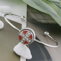 12MM cross sliver Plated with rhinestone and Orange enamel KS6350-S