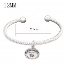 Snap sliver bracelet White rhinestone fit 12MM snaps jewelry KS12777-S