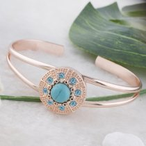 20MM round Rose Gold Plated with green Turquoise and blue rhinestone KC5644 snaps jewelry