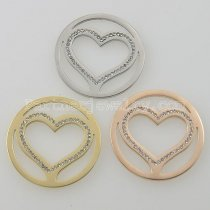 33MM stainless steel coin charms fit  jewelry size big heart with rhinestone