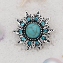 20MM design snap Silver Plated with rhinestone and green Turquoise KC6899 snaps jewelry