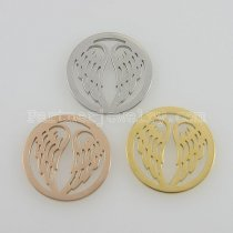 25MM stainless steel coin charms fit  jewelry size wings