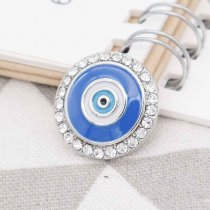 20MM eyes snap silver Plated with Rhinestones and blue enamel  KC7760 snaps jewerly
